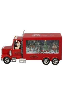 Karácsonyi kamion zenével, világítással 32 cm