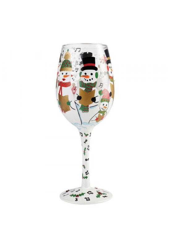 Éneklő hóemberek borospohár