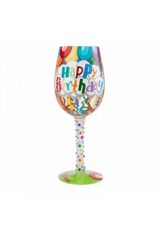 Színes születésnapi borospohár