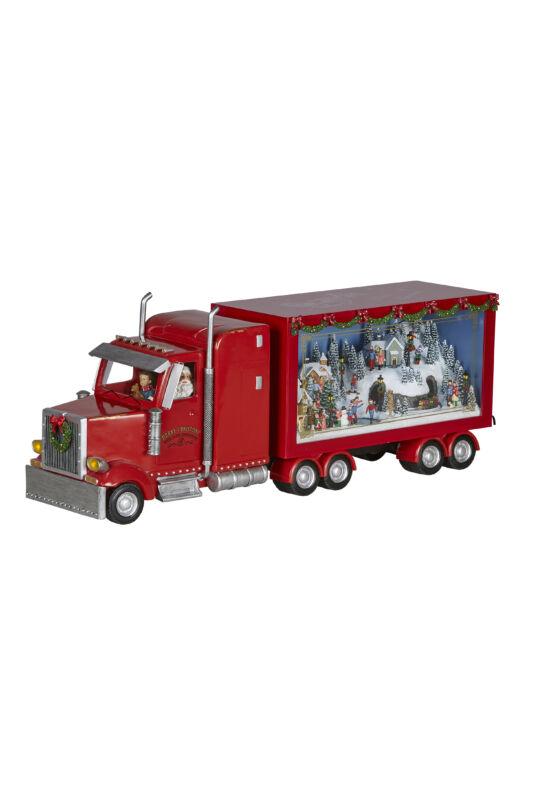 Karácsonyi kamion zenével, világítással 67 cm