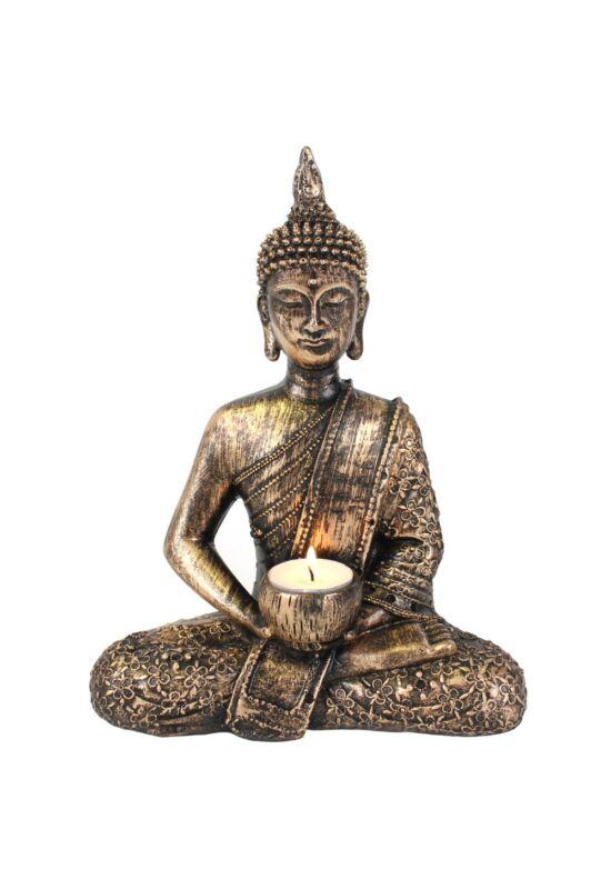 ülő buddha teamécses tartó